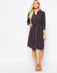 Oasis Belted Stripe Shirt Dress Multinavy