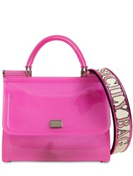 Dolce And Gabbana Sicily Faux Patent Leather Bag Pink