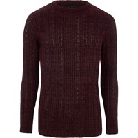 River Island Burgundy Cable Knit Muscle Fit Jumper