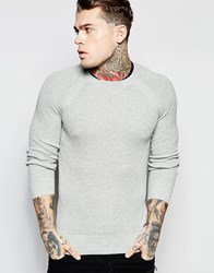 Diesel Crew Knit Sweater K Alby Slim Fit Waffle In Gray Marl Gray Marl