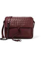 Bottega Veneta Saddle Small Intrecciato Leather Shoulder Bag Burgundy