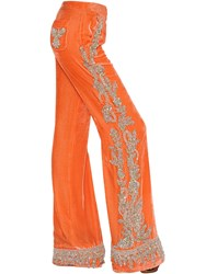 Roberto Cavalli Beaded Flared Velvet Pants