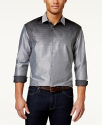 Alfani Black Men's Ombre Striped Long Sleeve Shirt Only At Macy's