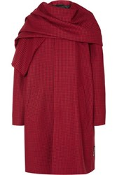 Balenciaga Draped Houndstooth Wool Coat Red