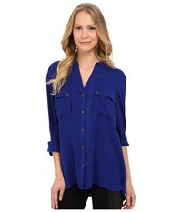 Adrianna Papell V Neck Long Sleeved Blouse With Pockets Iris Women's Blouse Multi