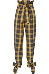 Attico Tie Detailed Belted Checked Cotton Twill Straight Leg Pants Yellow