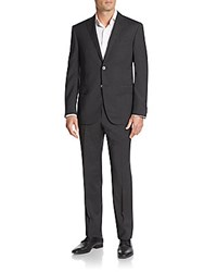 Corneliani Regular Fit Wool Suit Dark Grey Stripe