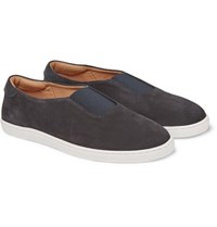 Want Les Essentiels Tesla Leather Trimmed Suede Sneakers Navy