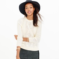 J.Crew Cable Crewneck Sweater With Fringe