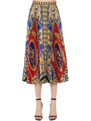Versace Plisse Printed Twill Midi Skirt Multicolor