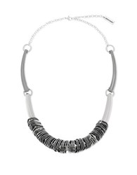 Steve Madden Wavy Rings On Curved Bar Necklace Silver