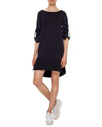 Akris Punto Boat Neck Cotton Shift Dress Navy