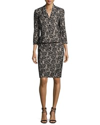 Albert Nipon Velvet Lace Peplum Jacket W Pencil Skirt Black Cream