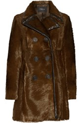 Derek Lam Double Breasted Leather Trimmed Calf Hair Coat Chocolate