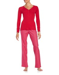Betsey Johnson Long Sleeve Henley Shirt And Flannel Printed Pants Pajama Set Red