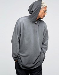 Asos Extreme Oversized Hoodie With Cropped Sleeves Grey