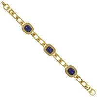 Eclectica Vintage 1980S Grosse Gold Plated Faux Lapis And Swarovski Crystal Bracelet Gold Blue