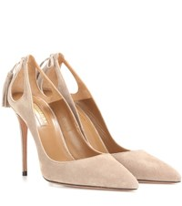 Aquazzura Forever Marilyn 105 Suede Pumps Neutrals