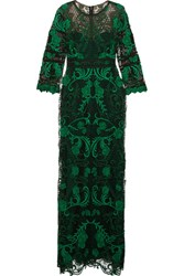 Marchesa Notte Guipure Lace Gown Green