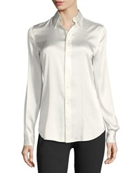 Ralph Lauren Cindy Stretch Charmeuse Blouse Cream