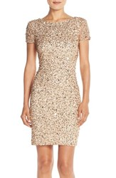 Women's Adrianna Papell Sequin Mesh Sheath Dress Champagne Gold