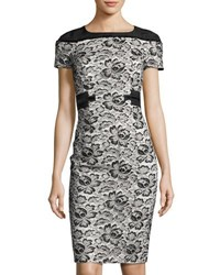 Carolina Herrera Lace Overlay Waist Ribbon Dress Black