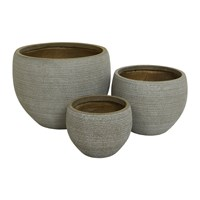 Amara Round Clay Plant Pot Set Of 3 Taupe