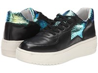 Ash Fool Black Nappa Calf Green Alligator Women's Lace Up Casual Shoes