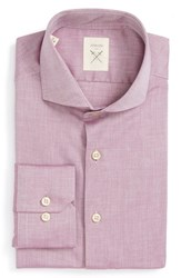 Strong Suit Men's Big And Tall 'Espirit' Trim Fit Herringbone Dress Shirt Plum Herringbone