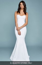 Katie May 'S Strapless French Tweed Mermaid Gown Ivory