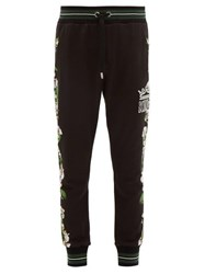 Dolce And Gabbana Orchid Print Cotton Jersey Track Pants Black Multi
