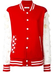 Night Market Embellished Varsity Jacket Red
