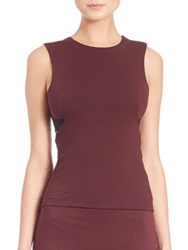 Alexander Wang High Lux Ponte Back Cut Out Shell Top Aubergine