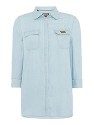 Barbour Longline Bleach Wash Track Shirt Light Blue