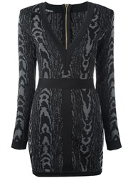 Balmain Leopard Pattern Mini Dress Black