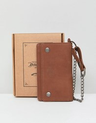 Dickies Deedsville Leather Wallet With Chain In Brown