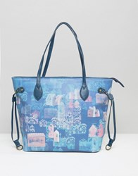 Lavand Printed Shopper Bag Blue Pattern