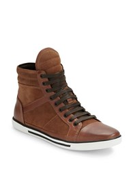 Kenneth Cole Up Side Down Leather Lace Up Sneakers Rust