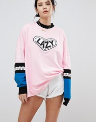 Lazy Oaf Long Sleeve Top With Patch Pink
