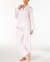 Miss Elaine Petite Brushed Back Satin Pajama Set Pearl Pink