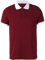 Moncler Contrast Trim Polo Shirt Red