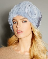 The Fur Vault Rosette Knitted Rex Rabbit Hat Light Blue