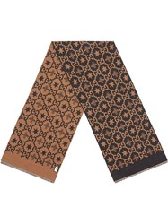 Gucci Bees And Stars Gg Jacquard Scarf Brown