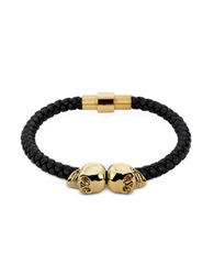 Northskull Black Nappa Leather And 18 Kt. Gold Twin Skull Men's Bracelet