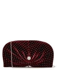 Jimmy Choo Vivien Embellished Velvet Clutch Bag Burgundy Silver