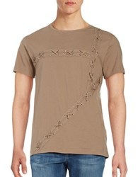 Laboratory Lt Man Grommet Lace Up Tee Brown