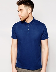 Peter Werth Knitted Textured Polo Shirt Navy