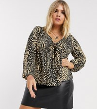 Pink Clove Tea Blouse In Mixed Leopard Brown