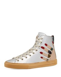 Gucci Flat Major High Top Sneaker Silver
