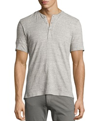 Ag Adriano Goldschmied Short Sleeve Heathered Henley Heather Gray
